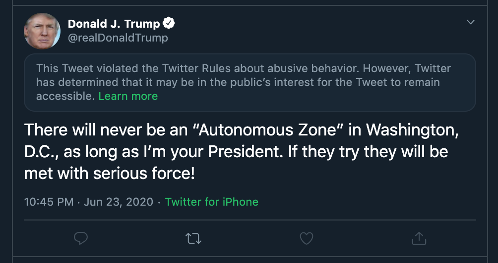 screen grab of tweet from donald trump